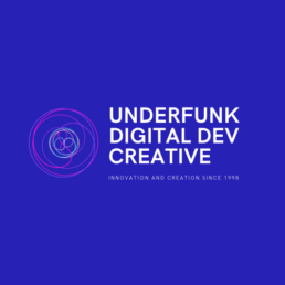 Underfunk Digital Developer & Creative Logo Blue background white text with non animated circles